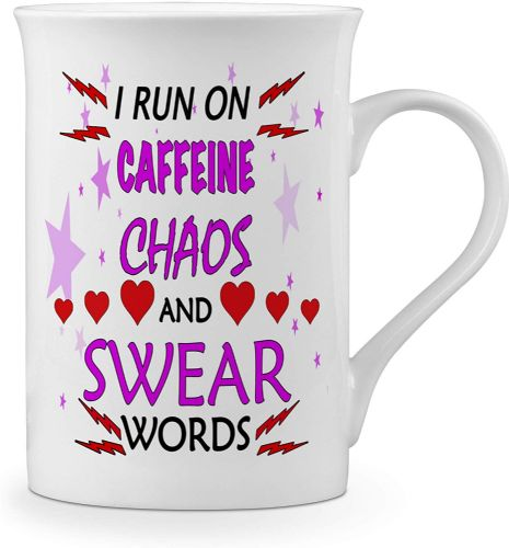 I Run On Caffeine & Chaos.Funny Novelty Gift Fine Bone China Mug